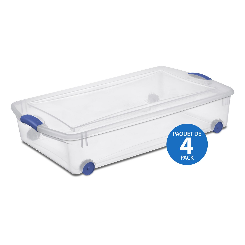 sterilite boite de rangement sous le lit 47l avec roulettes 4 pk