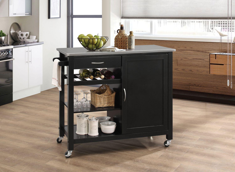 Acme Ottawa Kitchen Cart In Stainless Steel Black Walmart Canada