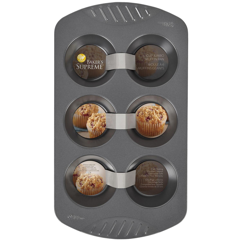 moule a 6 muffins geants antiadhesive de qualite superieure wilton baker s supreme
