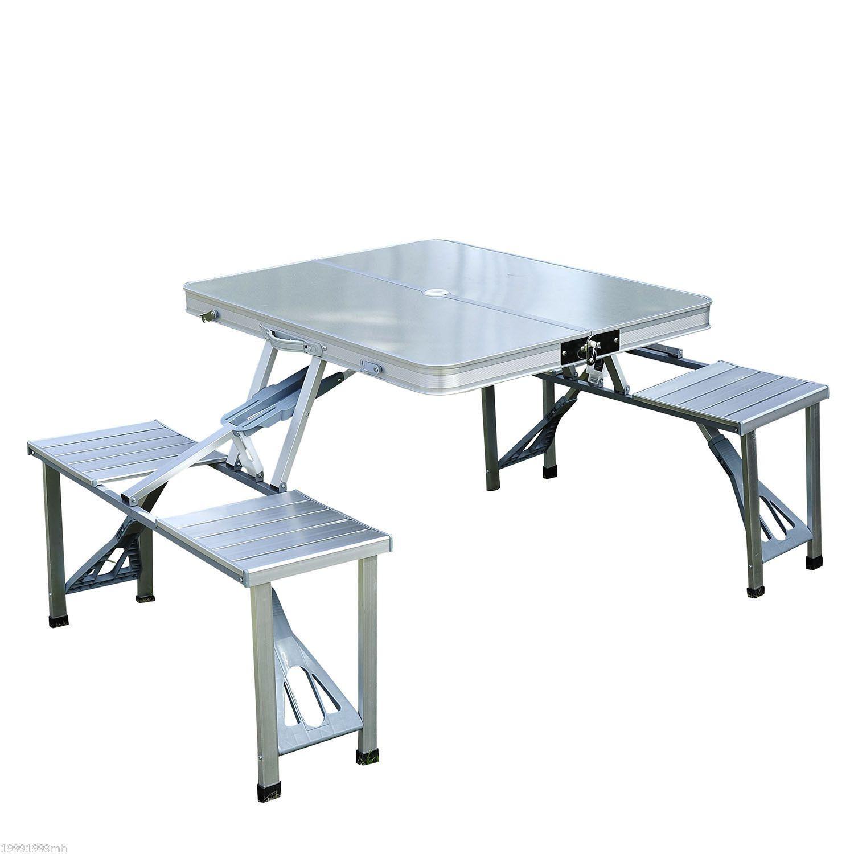 outsunny table de pique nique en aluminium pliante portative exterieure