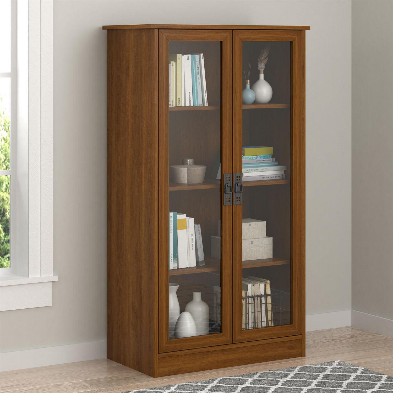 quinton bibliotheque point avec portes en verre brown oak