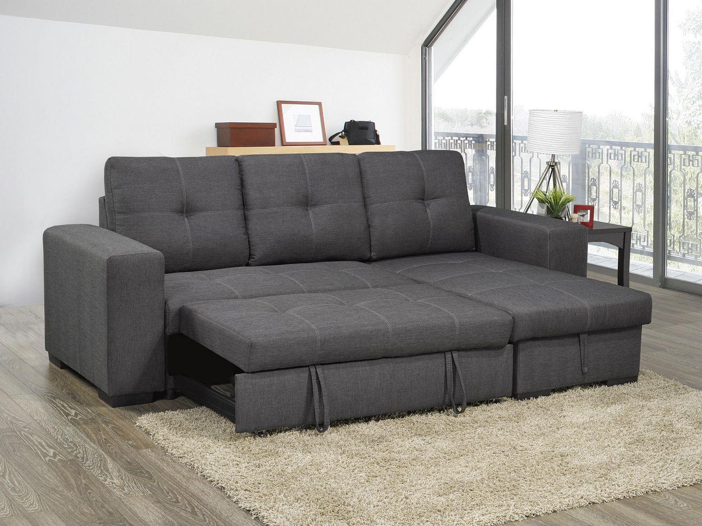 topline home furnishings sectionnel gris avec lit gigogne