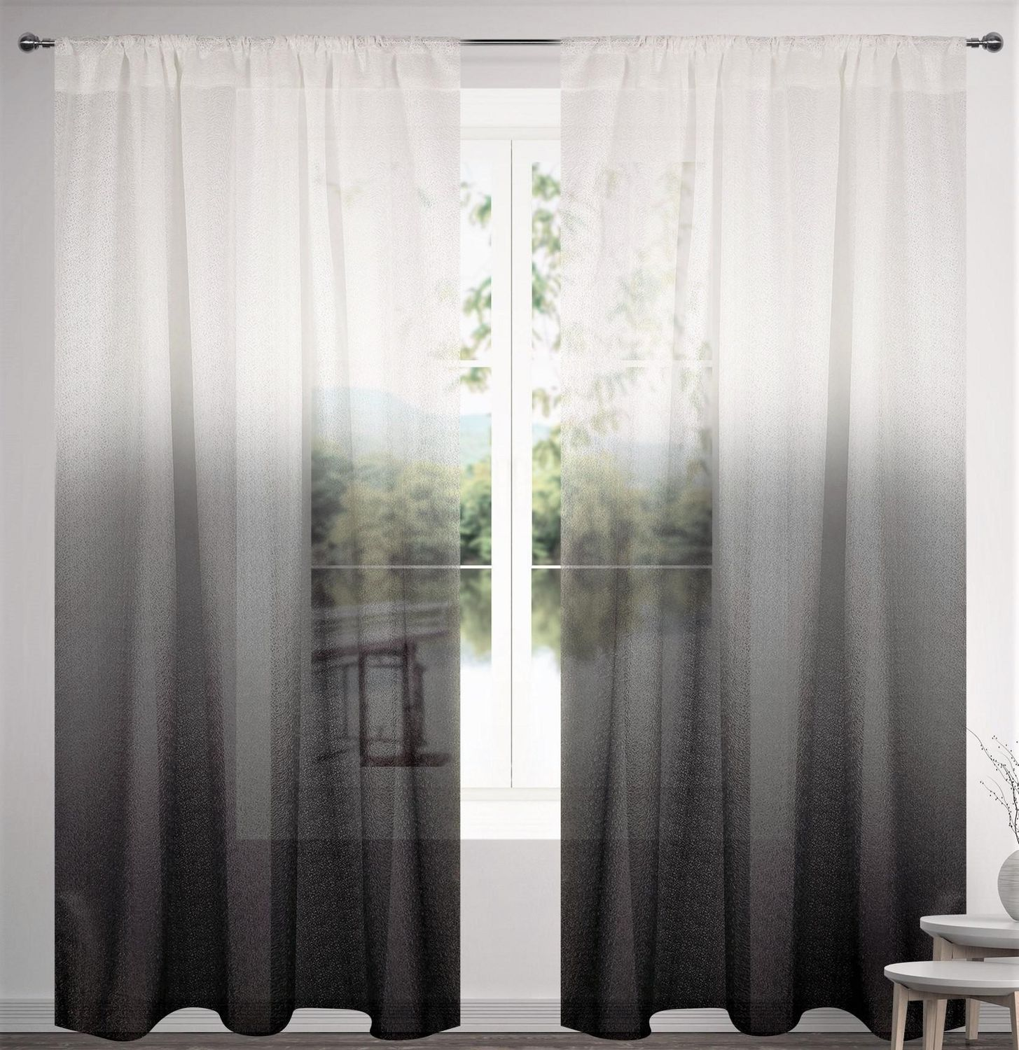 caricia home sheer ombre voile rod pocket curtain panel one 1 piece 54 x 84 white grey black