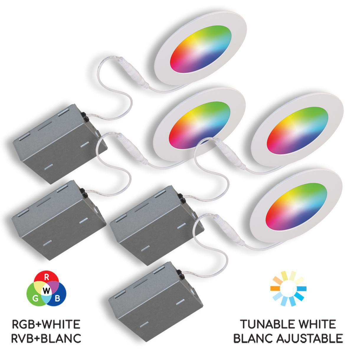 bazz smart home 4 in wi fi rgb tunable slim disk led recessed fixture kit white 4 pack
