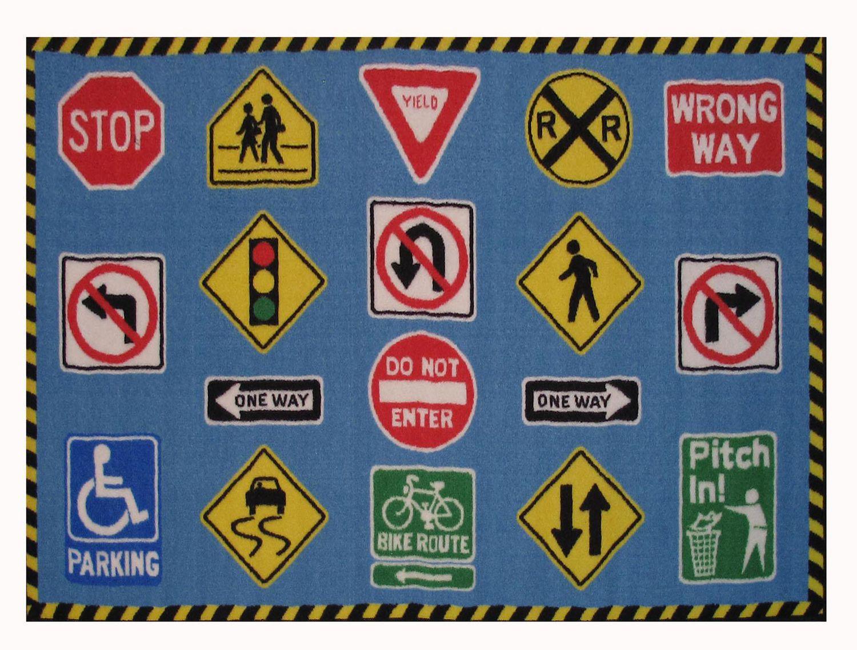 Fun Rugs Rectangle Multi Colored Traffic Signs Nylon Kids