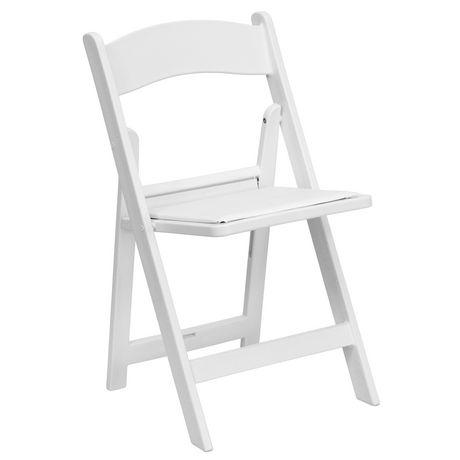 chaise pliante de la collection hercules de flash furniture en resine blanche avec siege rembourre en vinyle blanc
