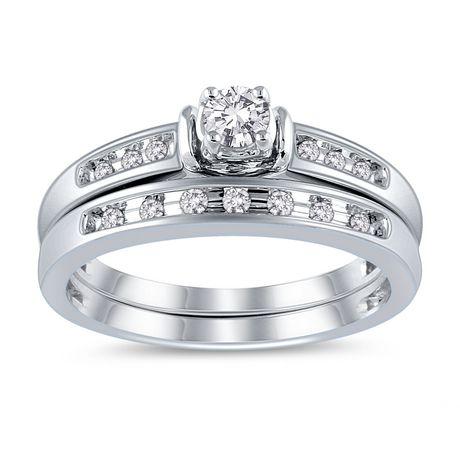 10K White Gold JK I2I3 Diamond Bridal Ring Set Walmart