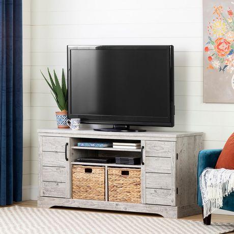 south shore fitcher meuble tele pour tv jusqu a 65 chene vieilli