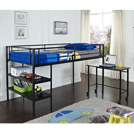 Twin Metal Loft Bed With Desk Black Walmart Canada