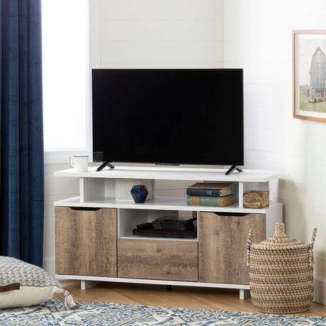 meuble tv en coin reflekt blanc et chene vieilli de meubles south shore