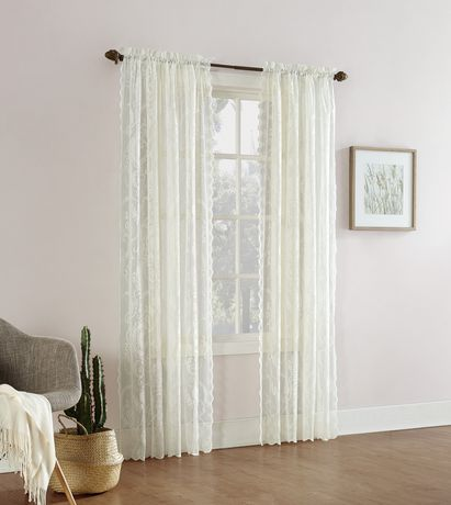 mainstays floral lace sheer rod pocket curtain panel