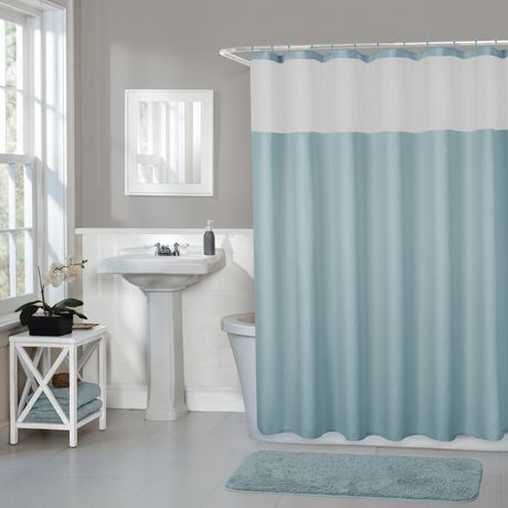 https www walmart ca en ip hometrends home trends smart curtains hendrix fabric shower curtain with attached roller glide hooks 70 inches x 72 inches blue blue 6000197892424