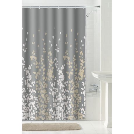 mainstays 13 piece sylvia fabric shower curtain set with click it shower hooks 70 inches x 72 inches grey