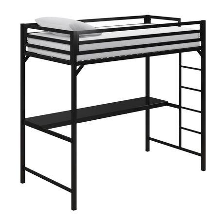 lit mezzanine une place en metal miles avec bureau
