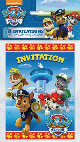 8 ens 8 pieces invitations de fete la pat patrouille avec enveloppes