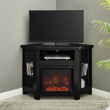 manor park meuble en bois pour media television pour cheminee en coin en noir plusieurs couleurs possible