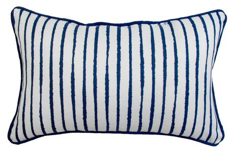 hometrends white and blue stripe outdoor indoor toss cushion