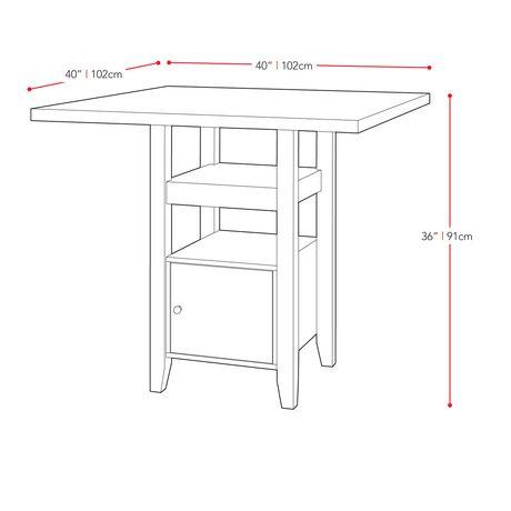 table de salle a manger bistro corliving a hauteur de comptoir avec armoire de rangement