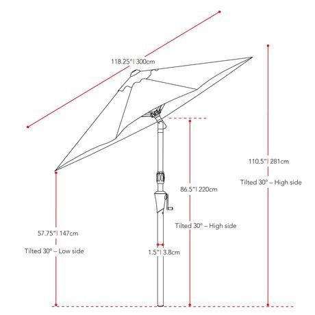 Parasol Inclinable CorLiving De 10 Pi En Rouge Rsistant
