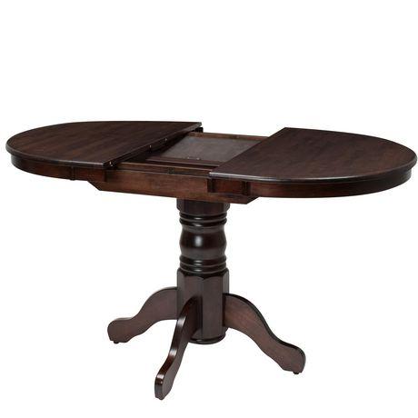 table ovale extensible a piedestal dillon de corliving en bois cappuccino pour salle a manger