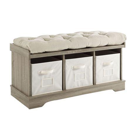 banc de rangement d entree en bois avec coussins et sacs style rustique moderne 42 lavis gris