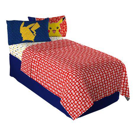 ensemble de draps pika pika pikachu de pokemon pour lit a 1 place