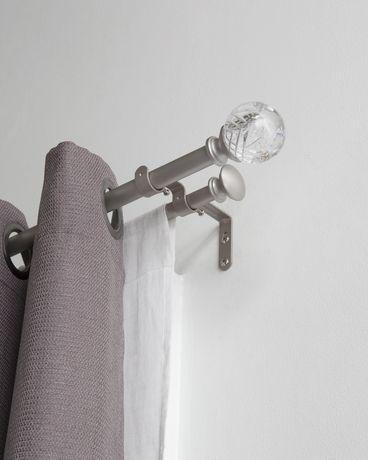ensemble de tringle a rideaux double en acrylique hometrends diametre de 3 4 longueur 42 a 120 nickel