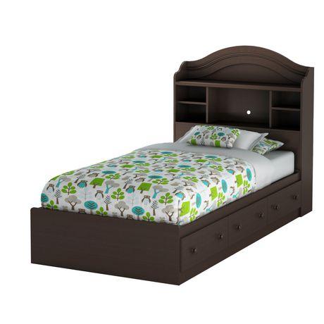 ensemble lit rangement simple avec tiroirs et tete de lit bibliotheque 39 summer breeze chocolat de meubles south shore