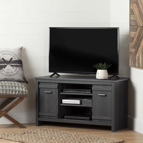 meuble tv en coin pour tv jusqu a 42 exhibit chene gris de meubles south shore