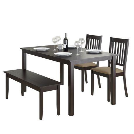corliving ensemble de salle a manger avec banc et chaises cappuccino 4 pieces