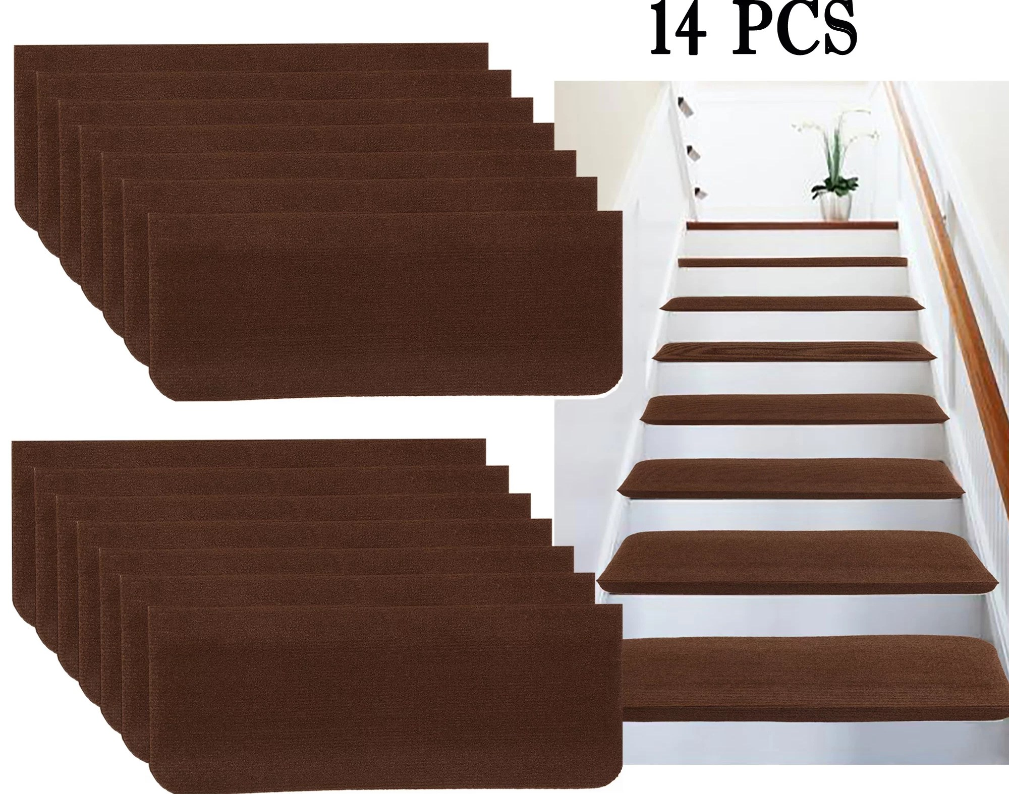 Nk Non Slip Carpet Stair Treads Stair Rugs Step Treads Stair Pads | Self Stick Stair Treads | Slip Resistant | Modern | Vinyl Covered | Contemporary | Pad