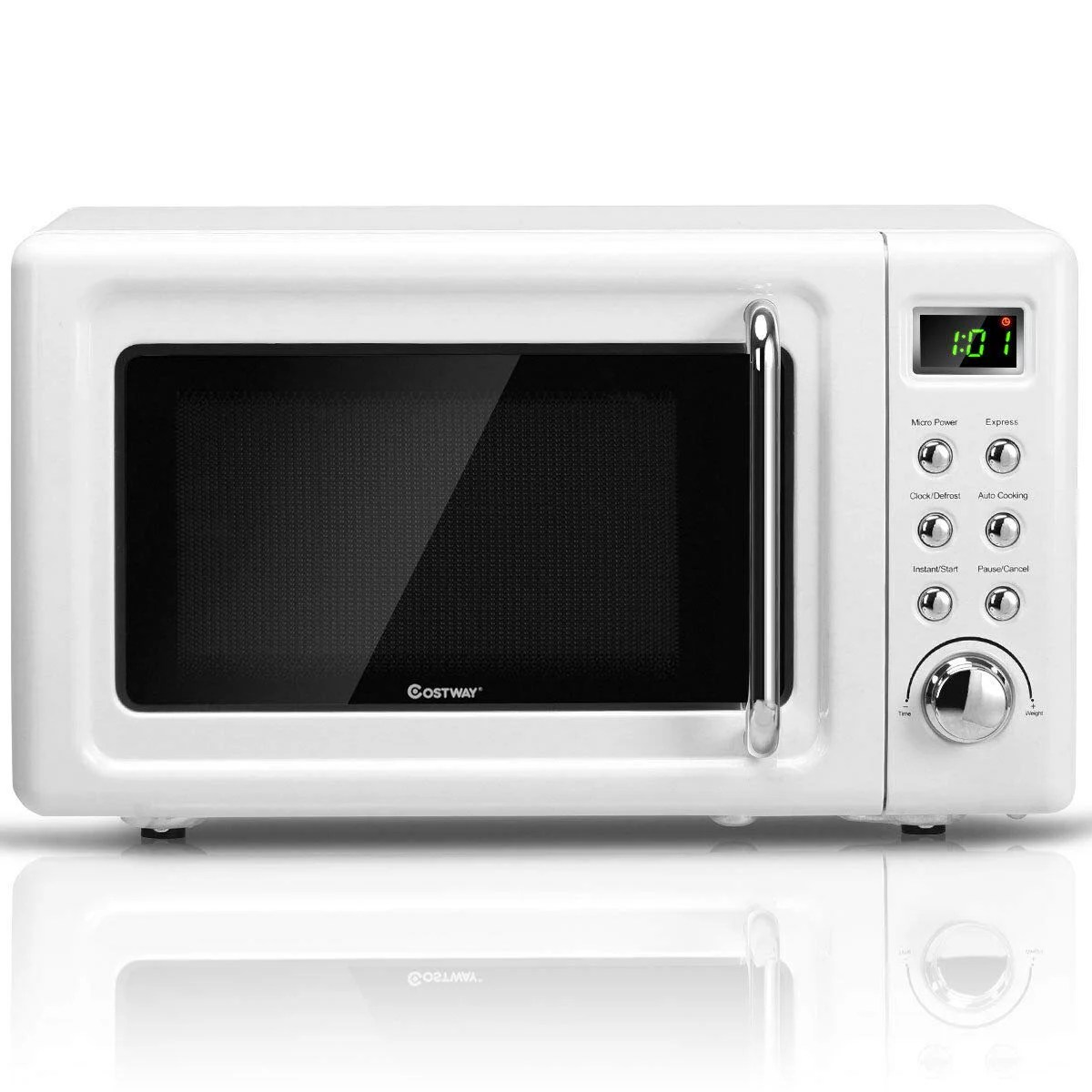 costway 0 7cu ft retro countertop microwave oven 700w led display glass turntable blackwhite