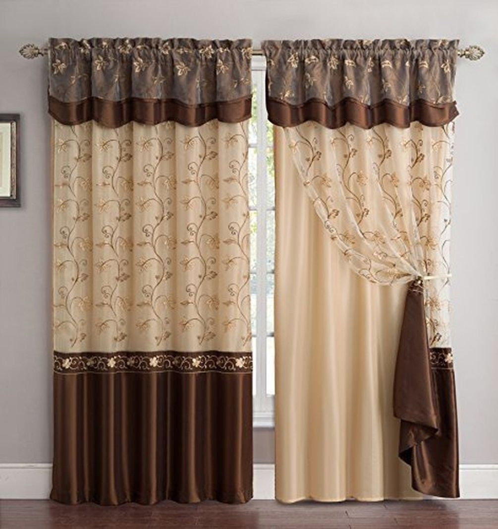 Fancy Linen Embroidery 2 Panel Curtain Set 55x 63 With Backing Amp Valance Brown New