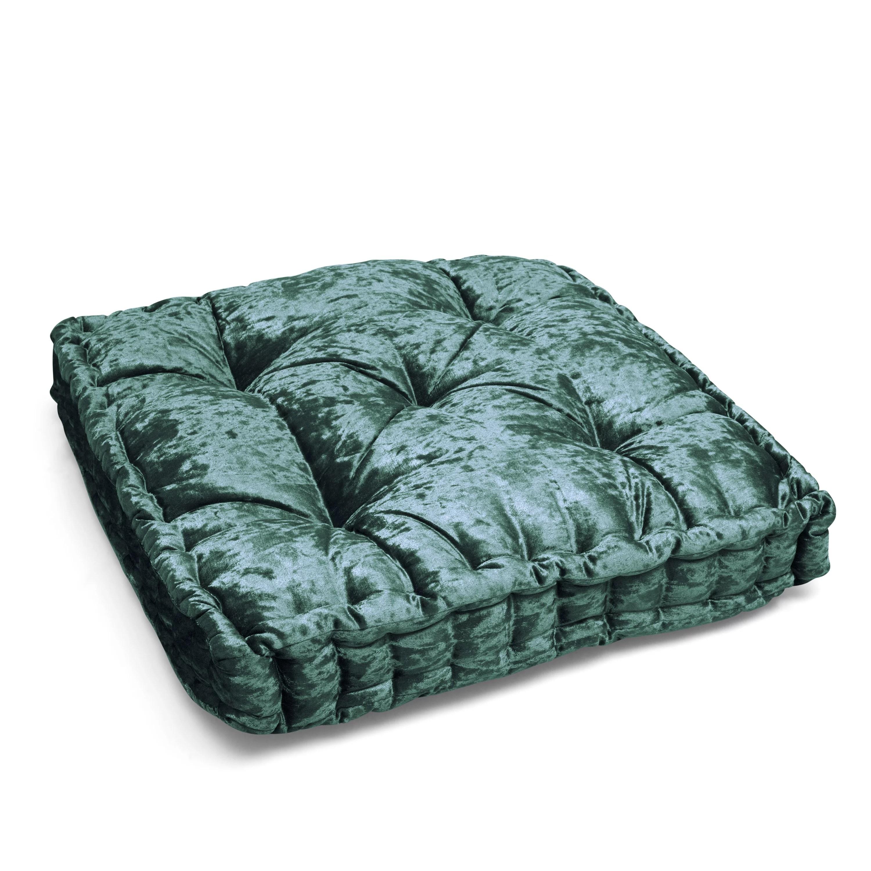 better homes gardens crushed velvet tufted square floor cushion emerald green