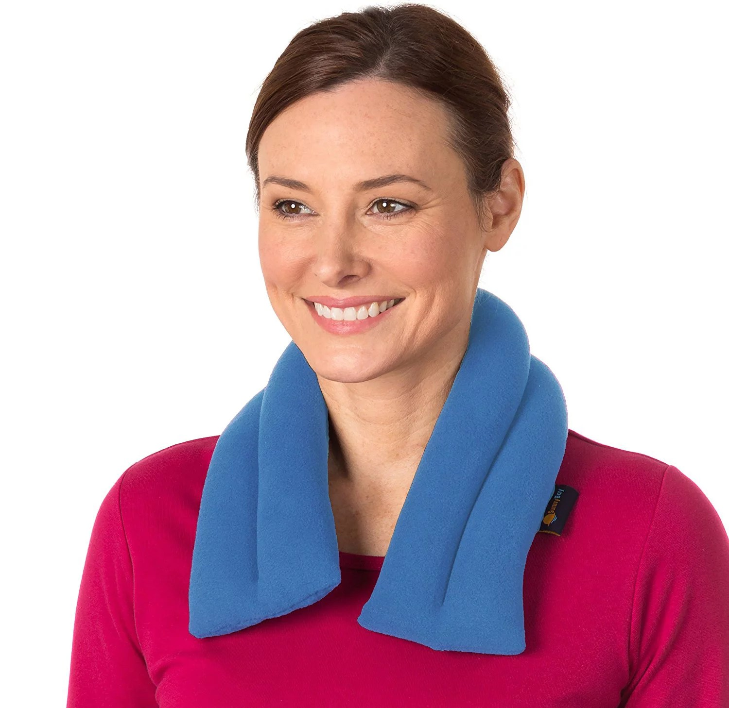 sunny bay extra long neck heating wrap microwavable heat pad heated neck wrap best for neck pain relief microwavable moist pack skyblue