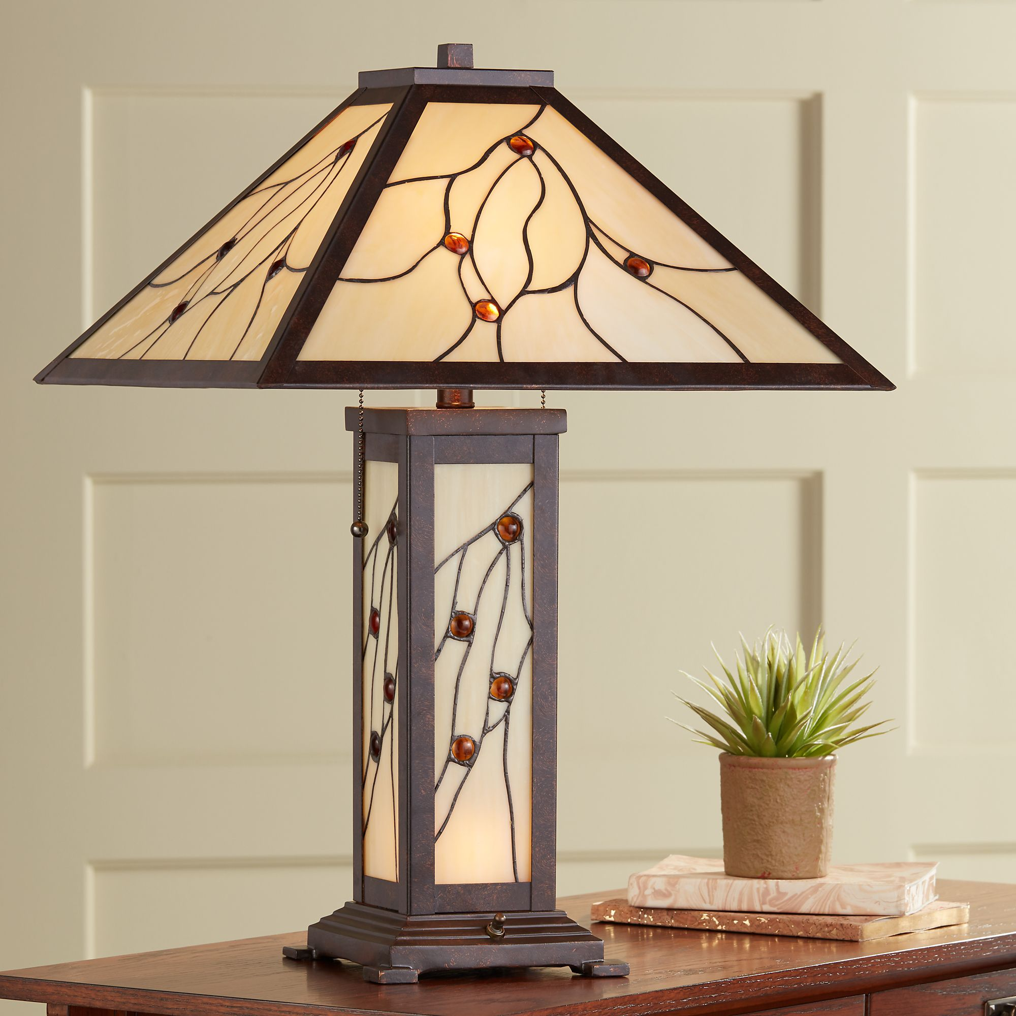 robert louis tiffany mission table lamp with nightlight classic bronze stained glass for living room family bedroom bedside walmart com