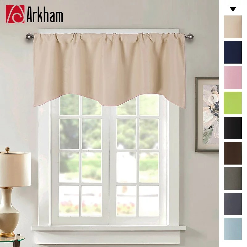 window valances for basement rod pocket blackout valance curtains 52 x 18 short curtain valance of simple and pure decoration style beige