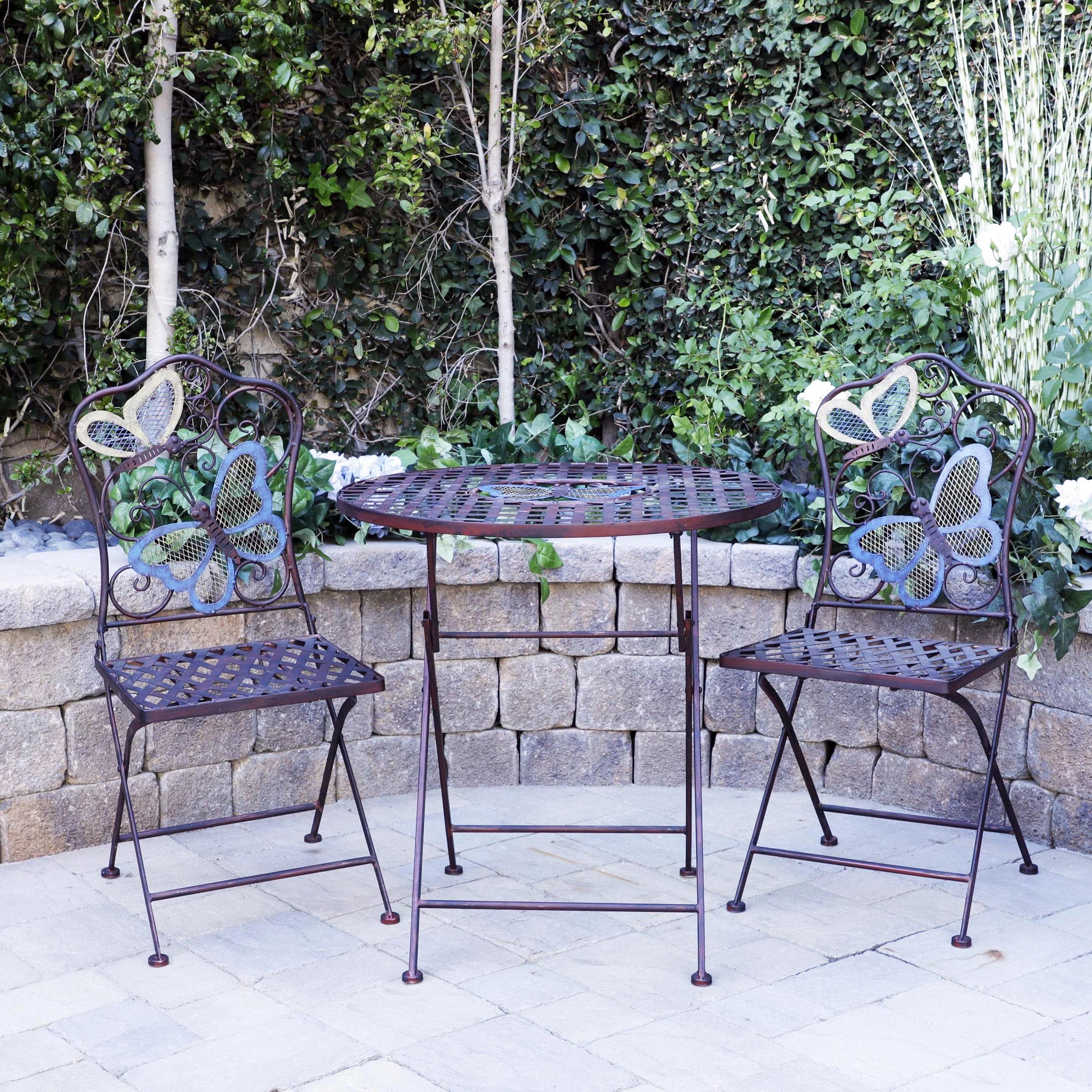 alpine butterfly outdoor patio bistro set metal 3 piece set walmart com