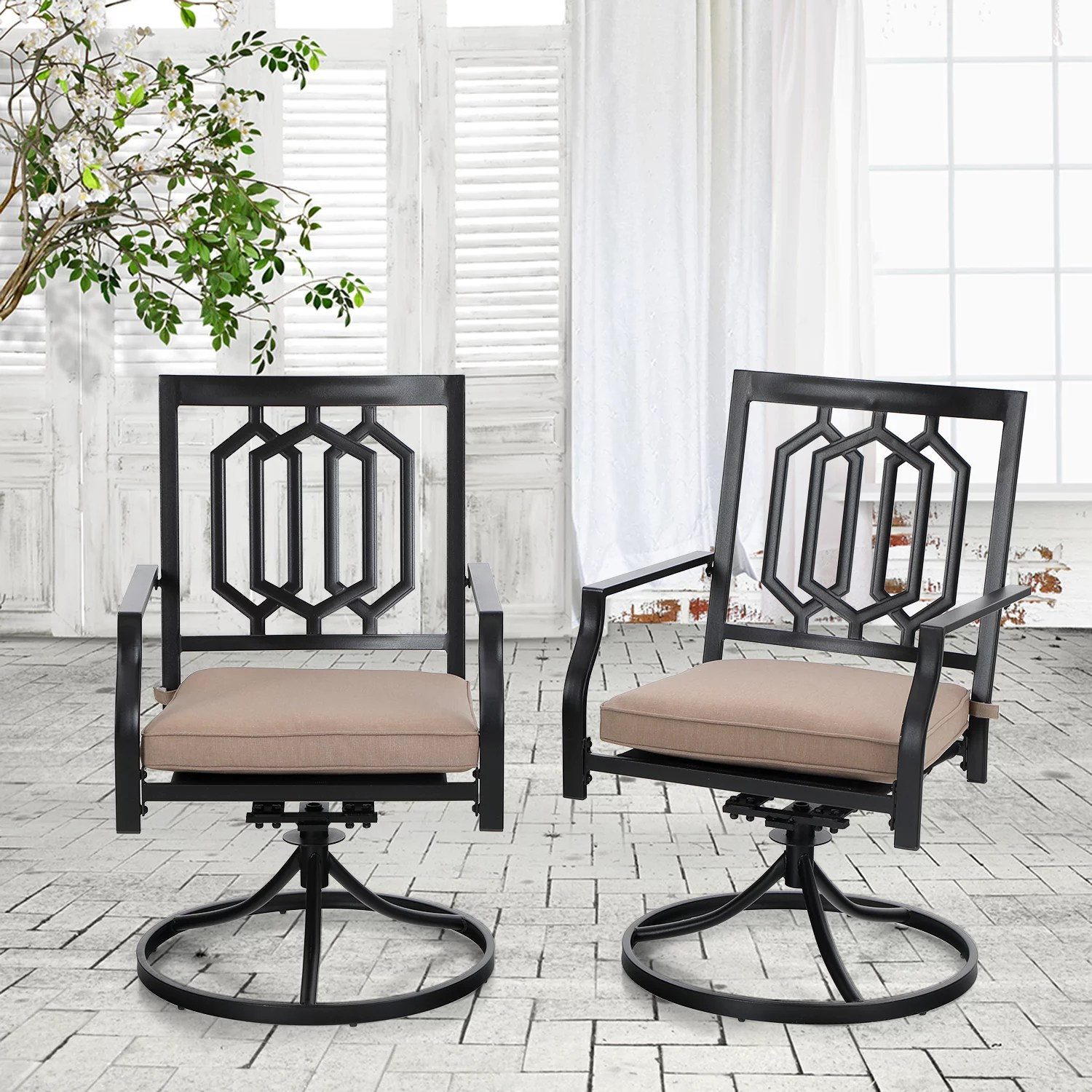 mf studio outdoor metal swivel chairs set of 2 patio dining rocker chair with cushion furniture set support 300 lbs for garden backyard bistro