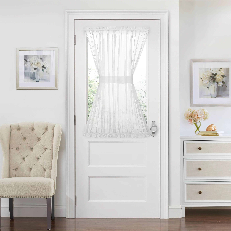 luxurious batiste semi sheer french door curtain panel with tieback white 45 in walmart com
