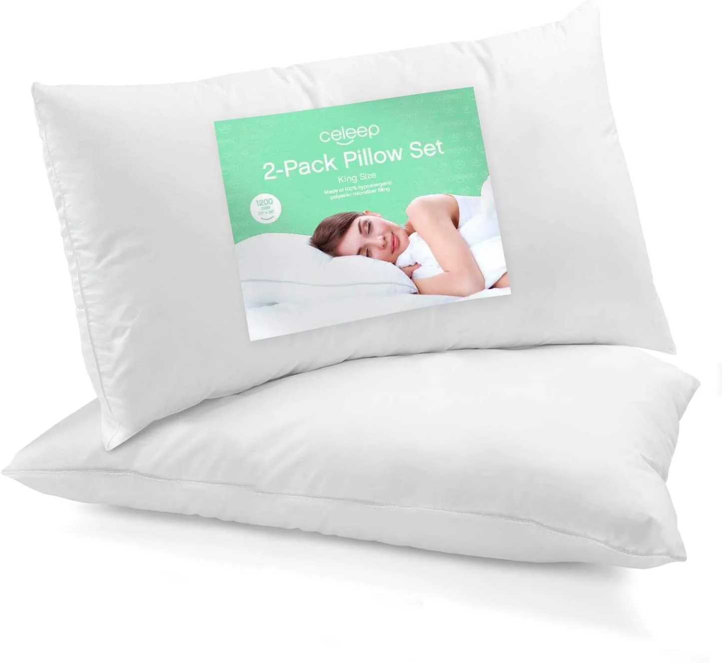 celeep 2 pack oversized queen bed pillows 20 x 30 inches 1050gsm ultra soft sand washed cover sleeping pillows with lofty microfiber filling