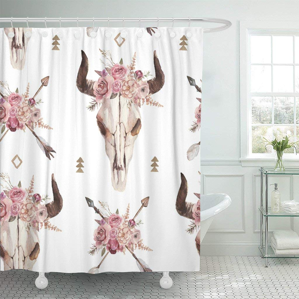 pknmt watercolor boho of arrows bull skull horns floral arrangement polyester shower curtain 60x72 inches