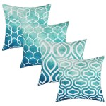 Set Of 4 Pillow Covers 18 X 18 Teal Decorative Cushion Cover For Couch Square Design Throw Pillow Case For Sofa Home Office By Tayyakoushi Walmart Com Walmart Com