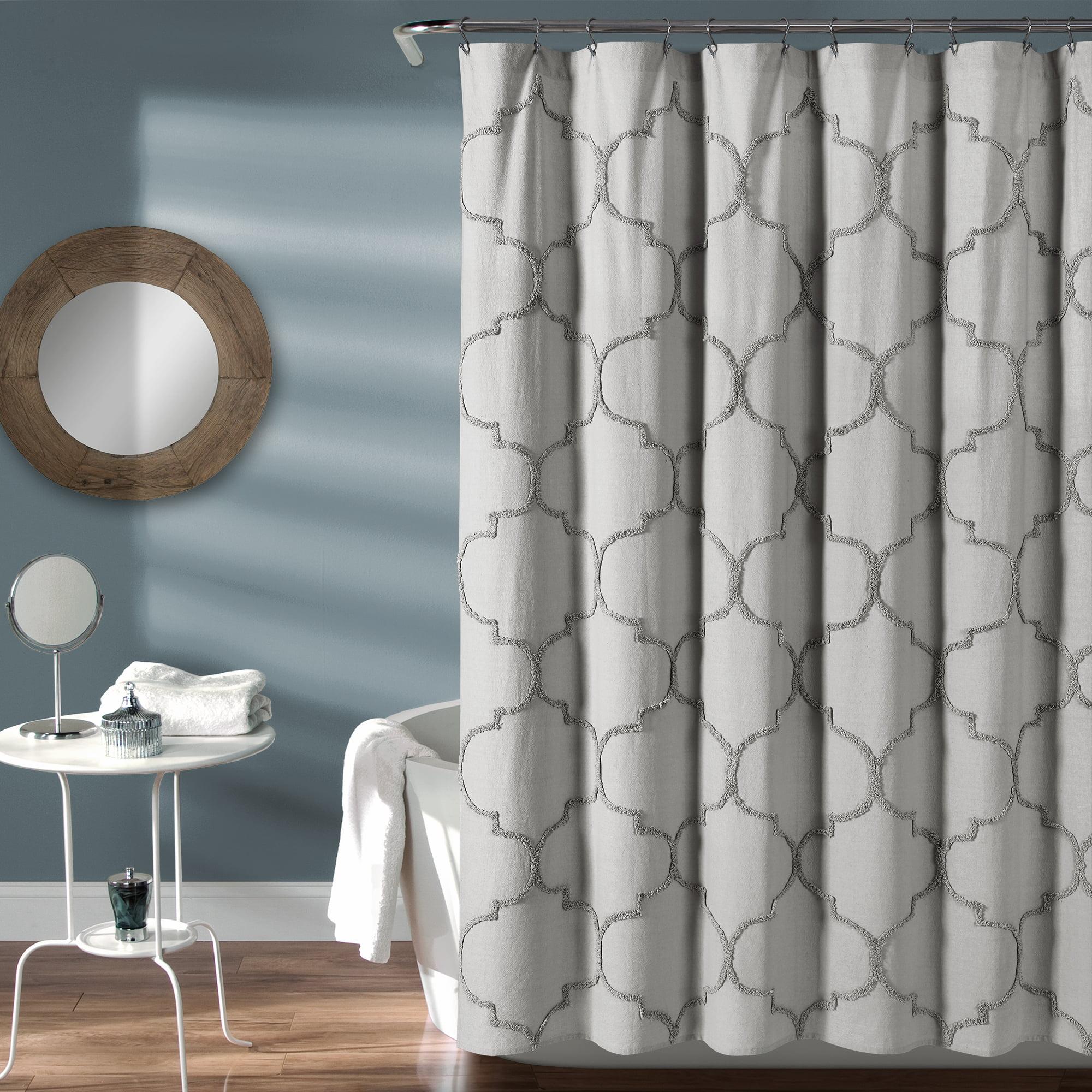 lush decor avon chenille trellis textured cotton shower curtain 72x72 light gray single