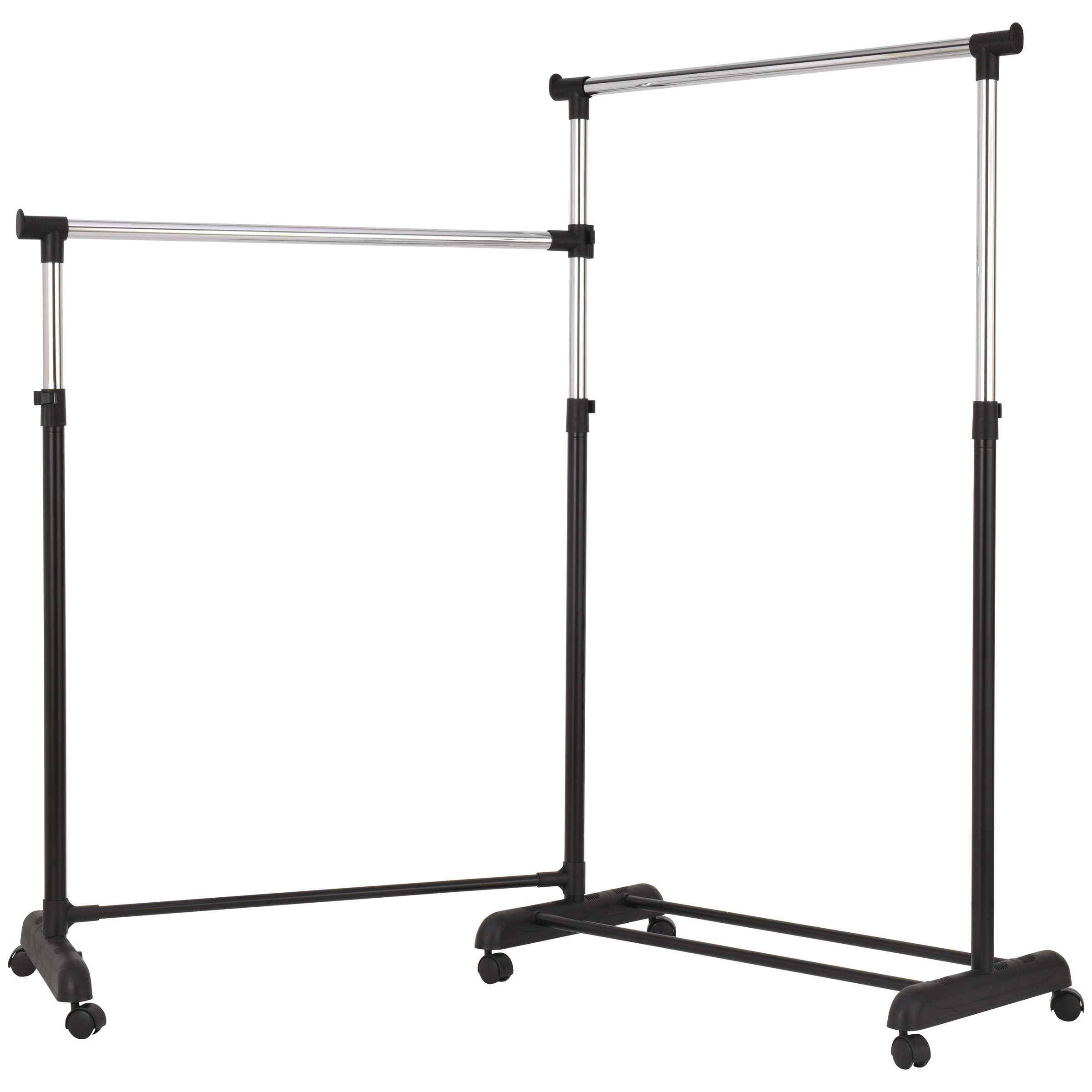 mainstays chrome black adjustable rolling corner garment rack walmart com