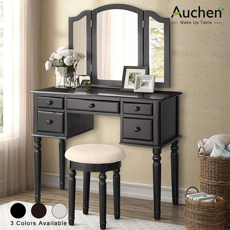 auchen vanity set vanity table makeup table with 5 drawers removable tri folding mirror and round cushioned stool for bedroom women black