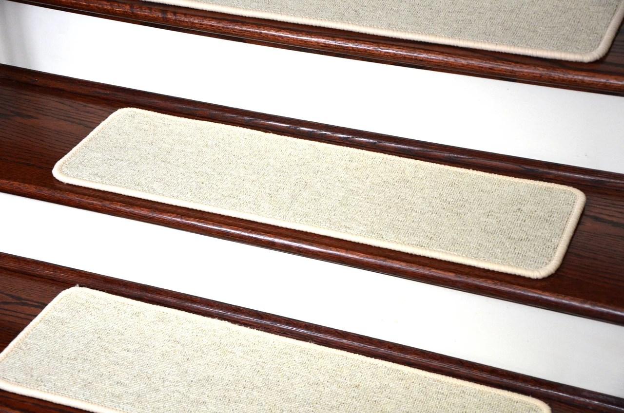 Dean Tape Free Pet Friendly Premium Wool Non Slip Stair Gripper | Dean Flooring Stair Treads | Fiber Sisal | Bullnose Wraparound | Stick Bullnose | Sisal Carpet | Washable Non