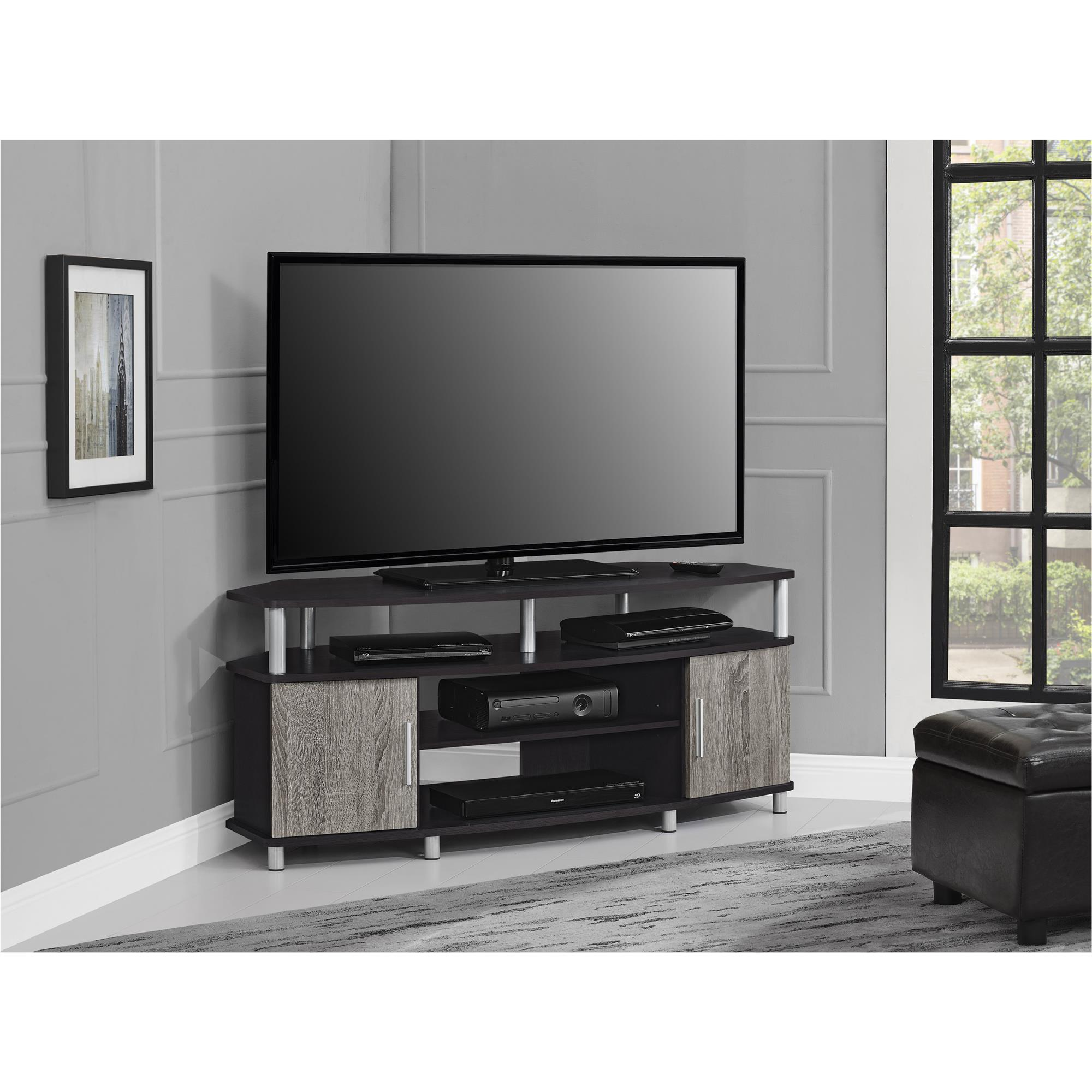 ameriwood home carson corner tv stand for tvs up to 50 wide black cherry walmart com