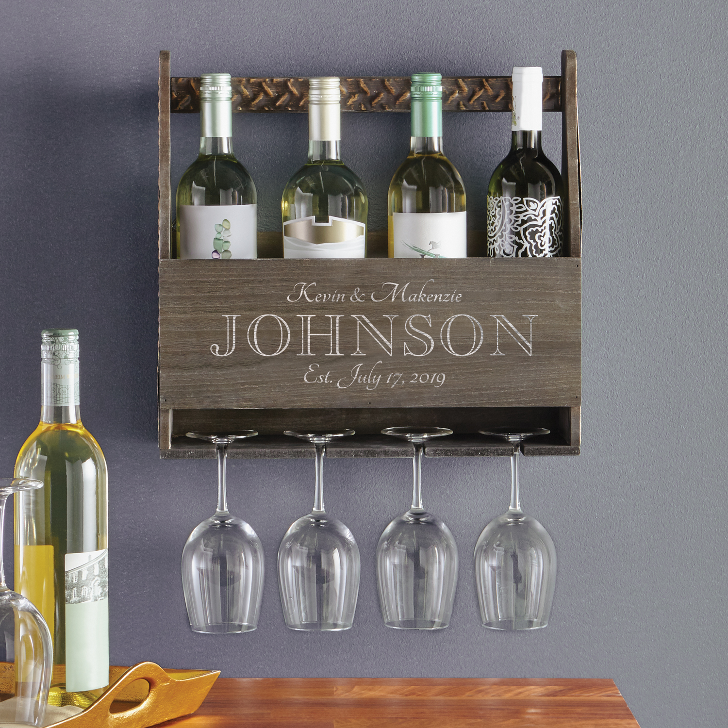 personalized a toast to love wood wine rack