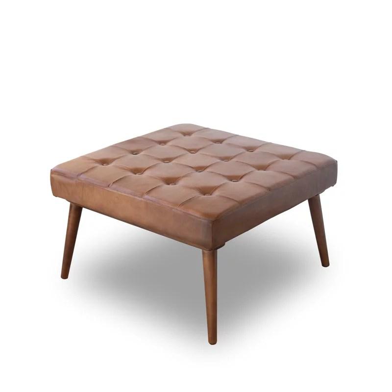 mid century modern alvar brown italian leather ottoman walmart com